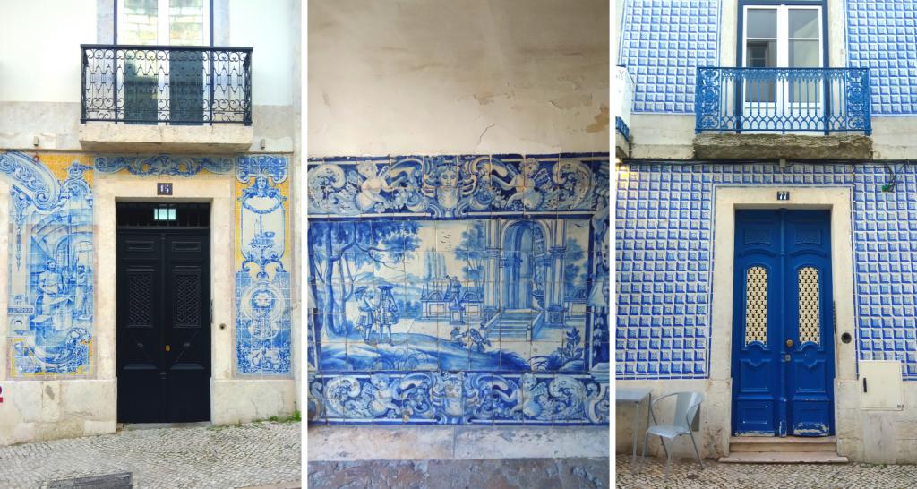 collage di tre immagini rappresentanti tre edifici di Lisbona. I tre prospetti sono decorati con le azulejos, piastrelle di ceramica di colore bianco e blu, spesso raffiguranti disegni ben precisi.