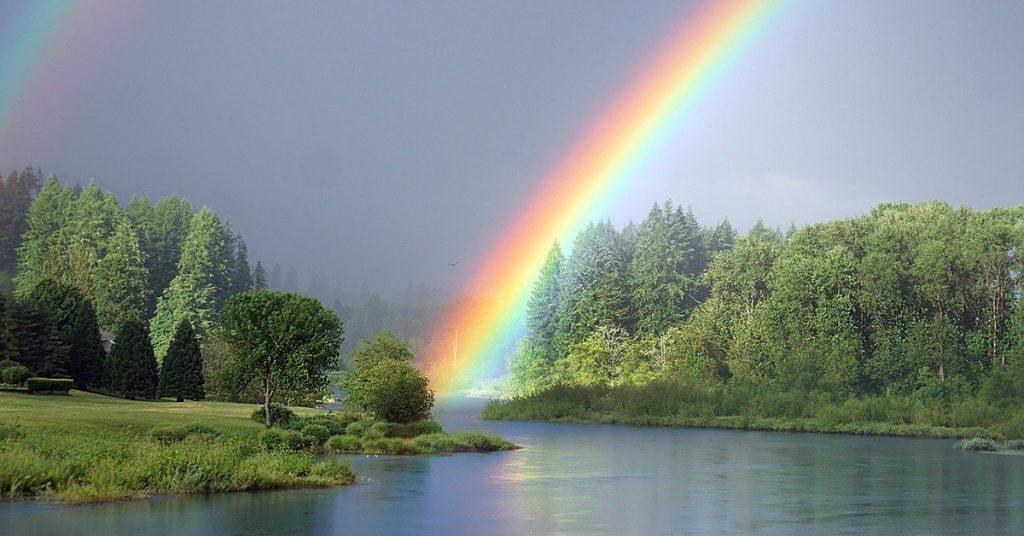 l'immagine ritrae un arcobaleno formatosi nei pressi di un bosco attraversato da un fiume